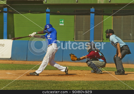 Baseball game stock photo, NOVARA, ITALY - JULY 7: Baseball game Novara (blue)-Bologna (purple) 1-17, Italian Serie A. Novara shortstop Carlos Boza homers in third inning. July 7, 2012 by Fabio Alcini