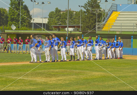 Baseball game stock photo, NOVARA, ITALY - JULY 7: Baseball game Novara (blue)-Bologna (purple) 1-17, Italian Serie A. Both teams standing on the field listening to national anthem. July 7, 2012 by Fabio Alcini