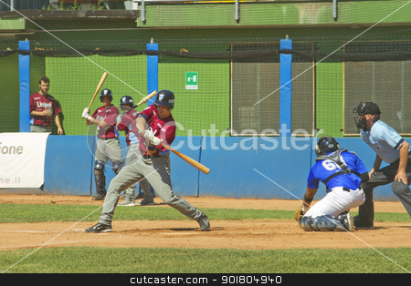 Baseball game stock photo, NOVARA, ITALY - JULY 7: Baseball game Novara (blue)-Bologna (purple) 1-17, Italian Serie A. Bologna designated hitter Mark Castellitto checks his swing. July 7, 2012 by Fabio Alcini