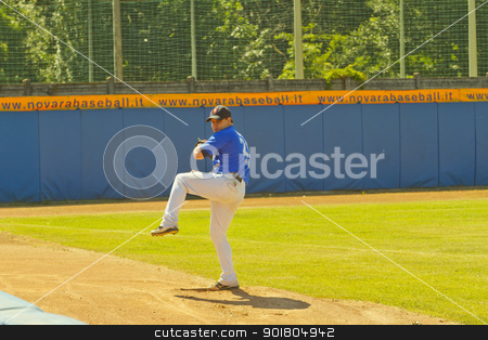 Baseball game stock photo, NOVARA, ITALY - JULY 7: Baseball game Novara (blue)-Bologna (purple) 1-17, Italian Serie A. Novara pitcher Sergio Tardivo warms up in the bullpen. July 7, 2012 by Fabio Alcini