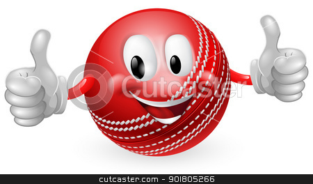 Cricket Ball Man stock vector clipart, Illustration of a cute happy cricket ball mascot man smiling and giving a thumbs up by Christos Georghiou