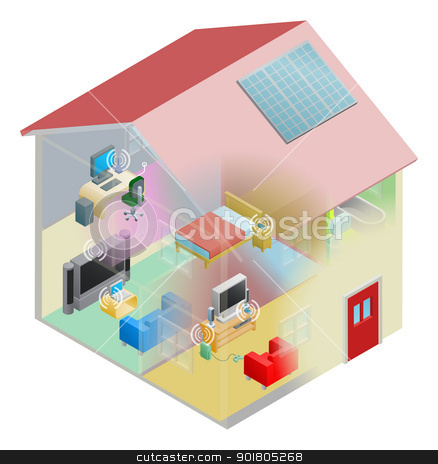 Home Network stock vector clipart, A home internet network with wireless and computing devices connected in a home group local area network. by Christos Georghiou