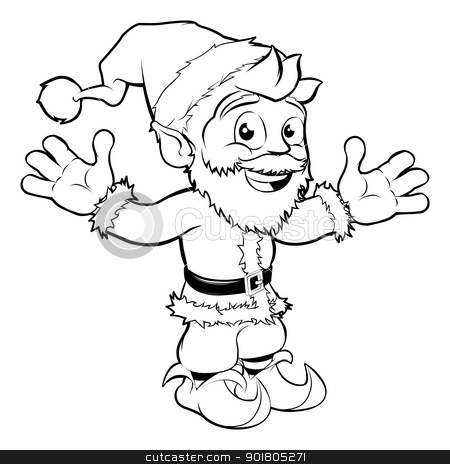 Happy Santa Claus stock vector clipart, Monochrome Christmas drawing of happy Santa smiling and waving by Christos Georghiou