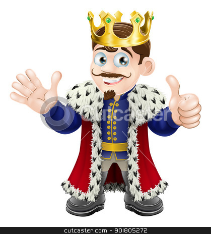 Cartoon King Mascot stock vector clipart, Illustration of a happy king smiling, waving and giving a thumbs up by Christos Georghiou