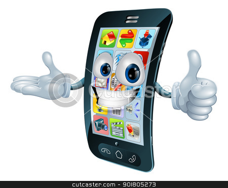 Cell phone man character stock vector clipart, Cell phone man character giving a thumbs up by Christos Georghiou