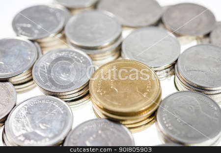 Money coins thai bath sort on isolate stock photo, money Coins thai bath sort on white background by moggara12