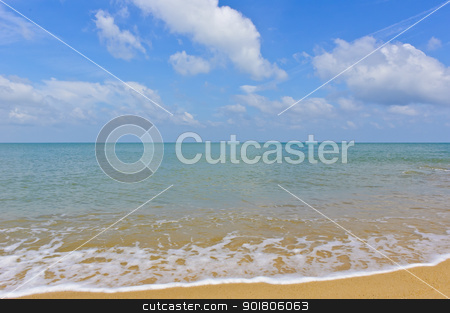Beach and sea  stock photo, Beach and sea with blue sky, Gulf of Thailand coast  by boonsom