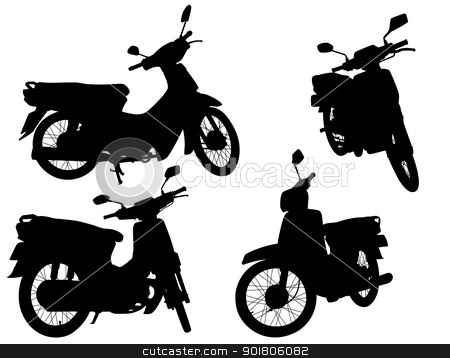 Scooters stock vector clipart, Set of editable vector silhouettes of motorcycle scooters by Robert Adrian Hillman