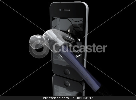 Hammer destroys Mobile Phone stock photo, Hammer destroys Mobile Phone 3D Illustration on black background. by Mehmet Şensoy