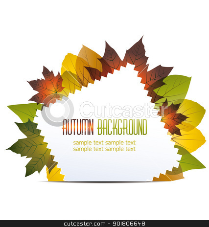 autumn background stock vector clipart, abstract background with autumn leaves by Miroslava Hlavacova