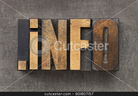 internet domain for information resources  stock photo, dot info  - internet domain for information resources in vintage wooden letterpress printing blocks on a grunge metal sheet by Marek Uliasz