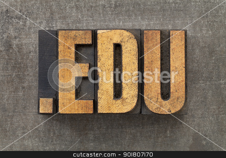internet domain for education stock photo, dot edu - internet domain for education in vintage wooden letterpress printing blocks on a grunge metal sheet by Marek Uliasz