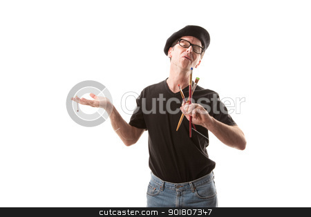 Smoking Painter stock photo, Eccentric male painter with brushes and cigarette on white background by Scott Griessel