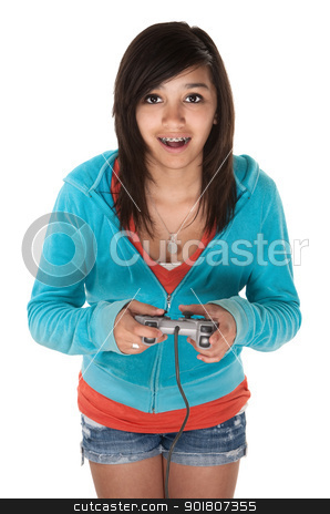 Video Game Girl stock photo, Cute young Hispanic teen using a video game controller by Scott Griessel