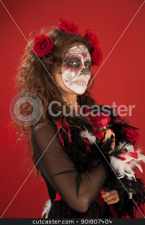 All Souls Beauty stock photo, A beutiful woman holding roses and wearing zombie makeup for All Souls Day by Scott Griessel