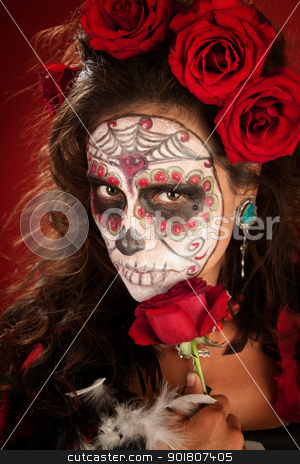 Sexy Lady with Roses stock photo, Sexy lady with red roses on Day of the Dead by Scott Griessel