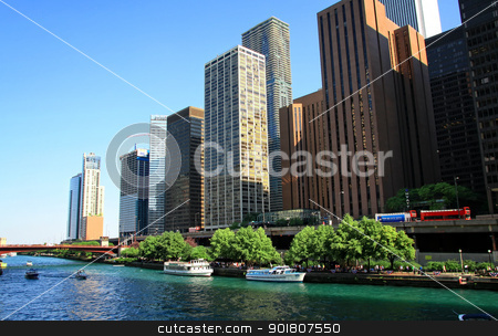 Skycrapers stock photo, View of Chicago skyscrapers from the river. by Bagiuiani Kostas