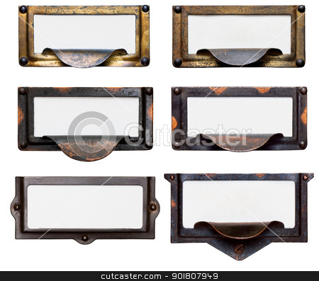 Old File Drawer Frames With Blank Labels stock photo, Collection of six old, tarnished brass file drawer label holders and drawer pulls with blank cards. Isolated on white. Includes clipping path. by Mark Carrel