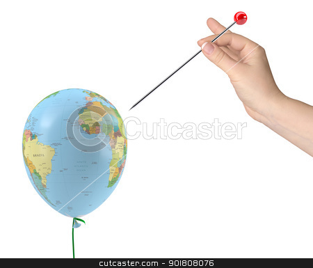 The hand with the needle aimed at the balloon with the texture of the planet earth stock photo, The hand with the needle aimed at the balloon with the texture of the planet earth. Isolated on white background by cherezoff