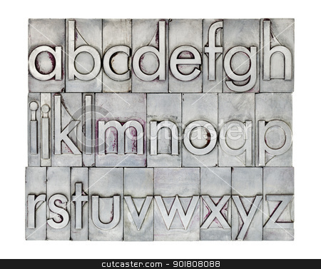 English alphabet in metal type stock photo, lowercase English alphabet  in vintage metal letterpress type, square composition isolated on white by Marek Uliasz