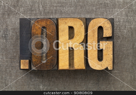 nonprofit organization internet  domain stock photo, dot org - internet domain for nonprofit organization in vintage wooden letterpress printing blocks on a grunge metal sheet by Marek Uliasz