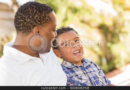Happy Mixed Race Father and Son Talking stock photo, Happy African American Father and Mixed Race Son Talking in the Park. by Andy Dean