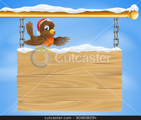 Christmas sign robin bird stock vector clipart, Traditional cartoon Christmas Robin bird on snow covered sign with Santa hat