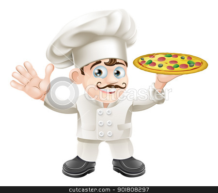 Italian pizza chef cartoon stock vector clipart, Cartoon happy waving Italian pizza chef with curly moustache by Christos Georghiou