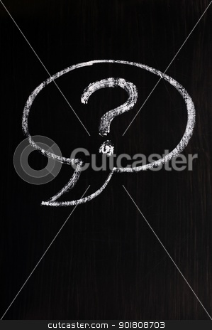 Chalk drawing of speech bubble with question mark stock photo, Chalk drawing of speech bubble with question mark on a blackboard background by John Young