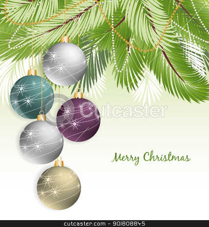 Christmas background stock vector clipart, Christmas background with decorated branches of Christmas tree. by Miroslava Hlavacova