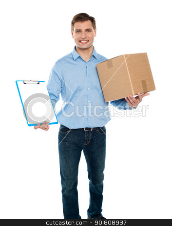 Kindly accept the delivery. Courier services stock photo, Kindly accept the delivery. Courier services. Man holding clipboard and carton by Ishay Botbol   