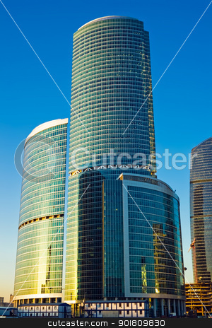 Tall skyscrapers at sunset stock photo, Skyscrapers of the International Business Centre at sunset, Moscow, Russia by Alexey Popov