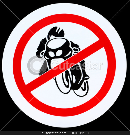 No motorcycle sign stock photo, No motorcycle sign, no bikes allowed prohibition zone warning signage,clipping path by kongsky