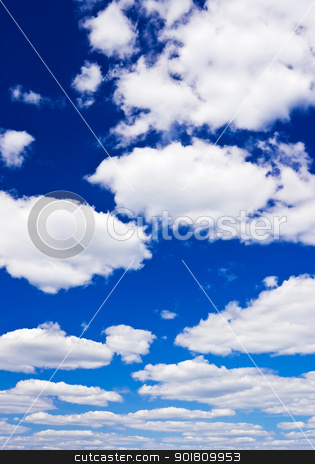 The sky stock photo, Blue cloudy sky by Alexey Popov