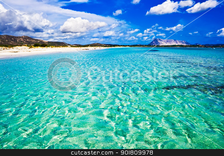 La Cinta Beach in Italy stock photo, Clear sea and sandy beach La Cinta, Sardinia, Italy by Alexey Popov