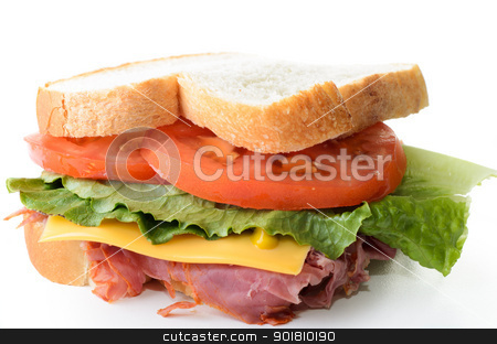 Corned Beef Sandwich stock photo, A corned beef sandwich with lettuce tomatoes and cheese. by Richard Nelson