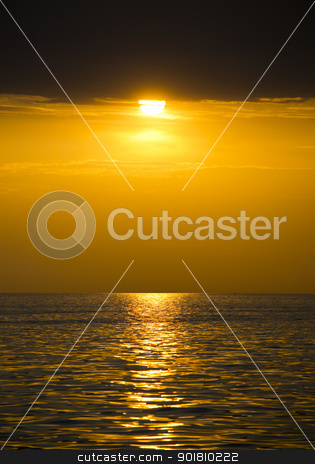Beautiful sunset stock photo, Beautiful cloudscape landscape sunset from the beach by Imaster