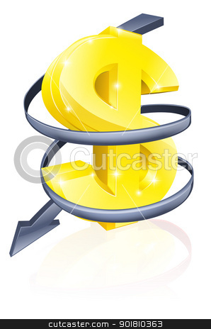 Falling dollar stock vector clipart, Conceptual finance or economy concept of falling price of the dollar exchange rate or just falling profits by Christos Georghiou
