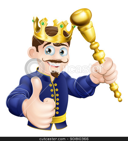 Cartoon King stock vector clipart, Illustration of a happy cartoon king holding a gold sceptre by Christos Georghiou