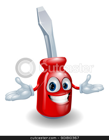 Red screwdriver mascot stock vector clipart, An illustration of a cartoon red slotted screwdriver man mascot  by Christos Georghiou
