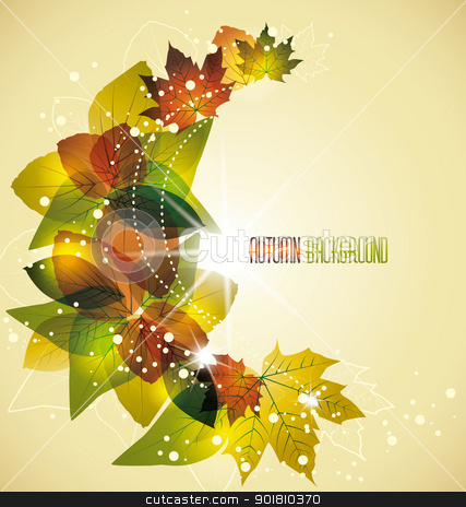 leaves stock vector clipart, the swirling leaves in the autumn colors by Miroslava Hlavacova