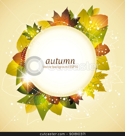 leaves stock vector clipart, colorful autumn leaves with frame for text by Miroslava Hlavacova