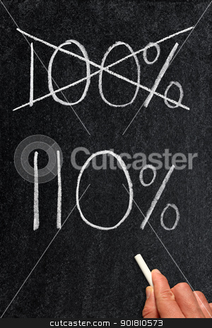 Crossing out 100% and writing 110%. stock photo, Crossing out 100% and writing 110%. by Stephen Rees