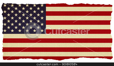 USA stars and stripes flag on old torn isolated paper. stock photo, USA stars and stripes flag on old torn isolated paper. by Stephen Rees