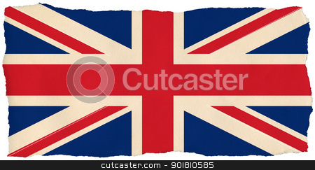 British Union Jack flag on old torn isolated paper. stock photo, British Union Jack flag on old torn isolated paper. by Stephen Rees