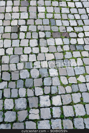 An old English cobbles road close up. stock photo, An old English cobbles road close up. by Stephen Rees