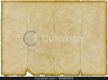 Isolated old vintage yellowing folded paper with torn edges. stock photo, Isolated old vintage yellowing folded paper with torn edges. by Stephen Rees