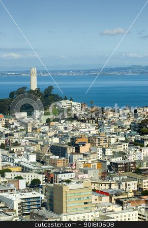Coit Tower stock photo, Coit tower San Francisco as viewed from Nob Hill by Stephen Gibson
