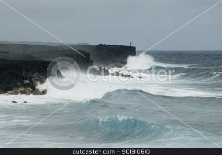 Kalapana rugged oceanscape stock photo, rugged coast line of hawaii's big island, huge waves crash against black volcanic cliffs at Kalapana by Stephen Gibson