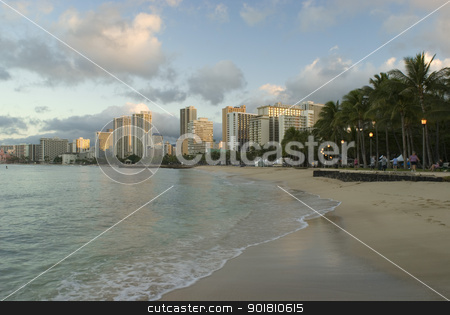 Waikiki beach Honolulu stock photo, Waves lapping along the famous Waikiki beach Honolulu, Hawaii by Stephen Gibson